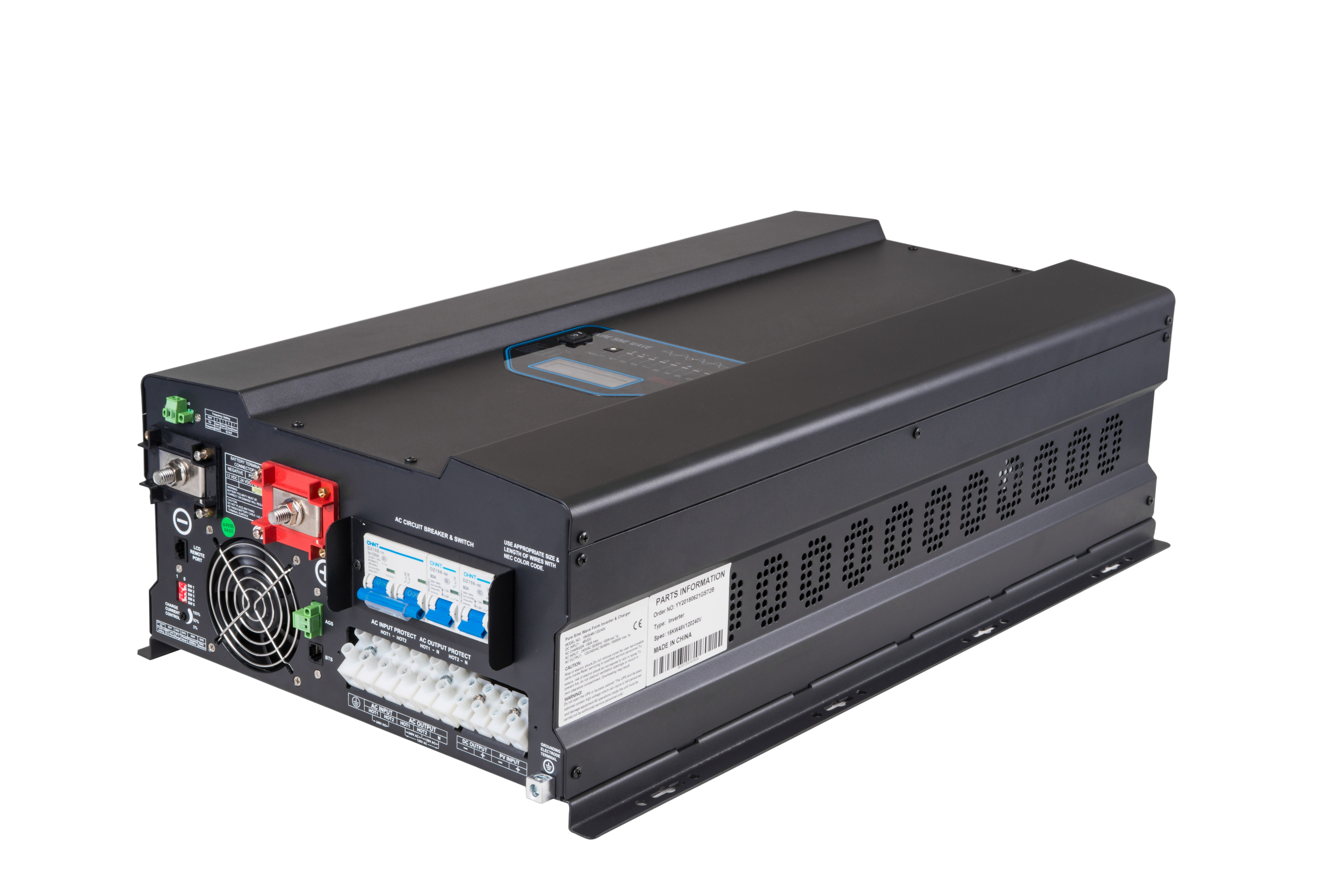 15kW Pure Sine Wave 48V Inverter/Charger with Transfer Switch and AC Coupling